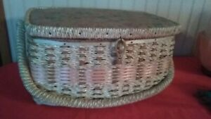 Singer Sewing Box, jute, wooden, plastic interwoven frame with inner tray.