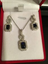 New 925 Sterling Silver Necklace & Earrings set Created Blue Sapphire & Clear CZ