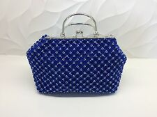 "Brand New Women's Purses Royal Blue Color Silver Handle Hand Made 13""x7""x4.5"""