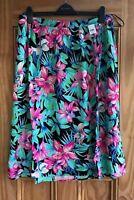 EVANS New Black Pink Green Elasticated Floral Flower Midi Skirt Plus Size 14-28