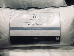 """New King Wamsutta White Down Side Sleeper Pillow 650 Fill 500 TC 2"""" Gussett"""
