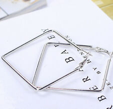 Geometric Shape Shiny Silver Gold Plated Big Large Hoop Nickel Free Earrings