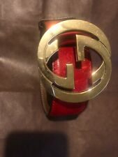 Gucci Red Leather Belt With Gold Interlocking g's  Size 100 - 40. Used