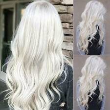 Womens Fashion Layered Ombre Grey Long Wavy Curly Hair Ladies Cosplay Party Wigs