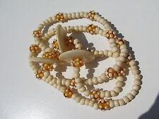 VINTAGE AFRICAN TRADE SKUNK BEADS AMBER VENETIAN GLASS BONE LARGE DISK NECKLACE