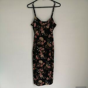 Forever 21 Black Floral Rose Dress Size Medium Adjustable Spaghetti Straps