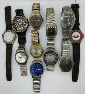 LOT OF 11 MENS WATCHES FOR PARTS FOSSIL & ARMITRON WORKS
