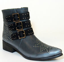 XYXYX Stiefelette 39 Echt- LEDER Schwarz Black Used Vintage Look geile Boots NEU