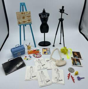 Barbie Dollhouse DIORAMA Accessory OFFICE STUDY ART STUDIO FASHION DESIGN PAINT