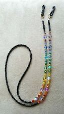 RAINBOW Swarovski Crystal handmade Eyeglass Chain Holder SILVER accents