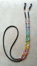 RAINBOW Swarovski Crystal Elements  Glass Balls Black Eyeglass Chain Holder