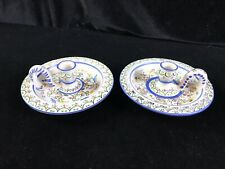 2 Hand Painted Signed Glazed Pottery Candle Holders, Polish? Hungarian? Nice
