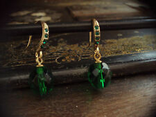 Vintage Emerald Green Faceted Glass and Crystal Drop Earrings . Pierced Hook.