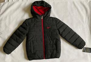 NIKE Boys Puffer Black & Red Coat NWT Size 6