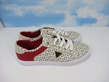 Guess Los Angeles Women's Leather Sneakers Shoes White Red Size 10 M wgcomly-r