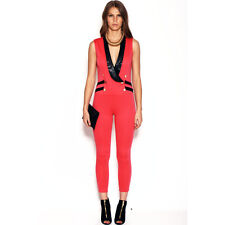 """Double-breasted shawl collar sleeveless """"tuxedo"""" catsuit by San Julian size L"""