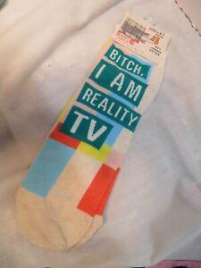 "Blue Q Women's Novelty Ankle Socks ""BI*CH I AM REALITY TV "" Cotton Sassy funky"