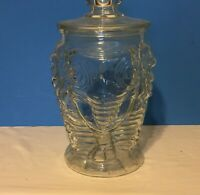 "Vintage Elephant Cookie Jar Clear Libbey Glass 13"" High & Lid"