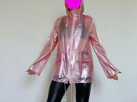 PVC U Like Plastic Rain Coat Raincoat Jacket Jelly Sissy Pink Vinyl S M Festival
