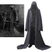 Adulte Noir Long à Capuche Cape Cloak VAMPIRE DEMON REAPER Fancy Dress Costume