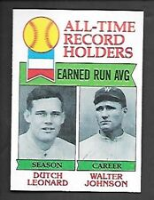 DUTCH LEONARD / WALTER JOHNSON 1979 TOPPS #418 NRMT ALL-TIME RECORD HOLDERS