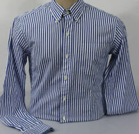 Polo Ralph Lauren Mens Shirt White Blue Small Cotton Button Front Stripe