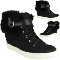 Womens Ankle Wedge Boots High Hi Top Sneakers Lace Up Trainers Ladies Shoes Size