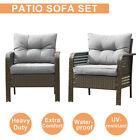 2pcs Outdoor Patio Wicker Furniture Rattan Sofa Set Garden Couch W/cushions Gray
