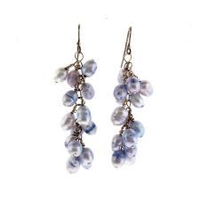 Lavender Blue Fresh Water Pearl Cluster Dangle Earrings925  Sterling Silver