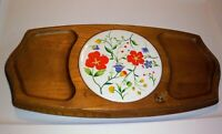 Vintage Cheese Tray Wooden Ceramic Tile Center Wood Serving Dish Flowers 70s