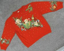 Holiday Time KITTY CAT THEMED Adult Size XL Red UGLY CHRISTMAS SWEATSHIRT