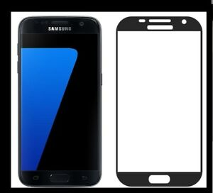 GENUINE TEMPERED GLASS SCREEN PROTECTOR FOR SAMSUNG GALAXY S7. FULL & SLIM BLACK