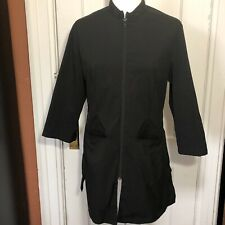 Noel Asmar Uniform Size M Black Tunic Zip Front 3/4 Sleeve Spa Wellness Tunic