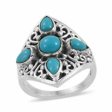 925 Silver Sleeping Beauty Turquoise Cluster Ring - Size 9