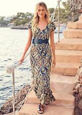 Bold Print Stretch Jersey Maxi Dress with Wide stretch Belt Size 8 - 10 NEW