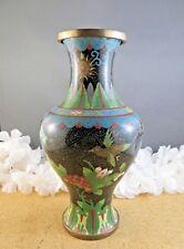 "Antique Chinese Cloisonne Enamel Brass Bird Blue Red Floral Black 9"" Vase"