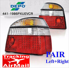 VOLKSWAGEN VW GOLF 3 Mk3 93-98 LED Tail lights PAIR rear brake lamps red clear