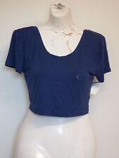 Women Crop Top Shirt Blue  XS Aeropostale Cap Sleeves