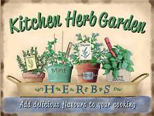 "Kitchen Herb Garden, Retro metal Sign/Plaque, Gift, Home 10"" x 8"" Large"