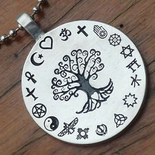 Coexist Tree of life World's religions Pagan Detail Pendant W Silver Ball Chain
