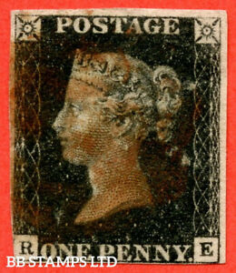 """SG. 2. A1 (2). AS46. """" RE """". 1d Black. Plate 7. A fine used example cance B56731"""