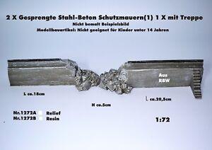 Neu Nr.1272A 2xGesprengte Stahl/Beton-Schutzmauern(1) mit Treppe 1:72 f.Diorama