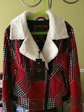 Dollhouse Women Asymmetrical Plaid Wool with Faux-Leather Motorcycle Jacket SM