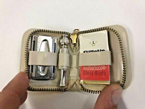 Vintage GILLETTE TRAVEL RAZOR w Gold Zip Case sparkle zipper safety blade NOS
