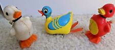 Vintage 1977 Tomy Wind-Up Walking Swimming Duck Toys Lot