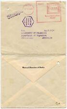 ITALY PALESTINE MIGRATION DEPT JERUSALEM WW2 CENSORED METER FRANKING 1939