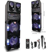 """Bluetooth Speaker Trolley Rechargable Dual 10"""" Woofer Party FM Karaok DJ LED AUX"""