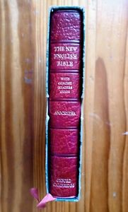 NEW ENGLISH BIBLE APOCRYPHA DOUBLE COLUMN RED CALFSKIN WITH SLIPCASE 1972 NEB55C