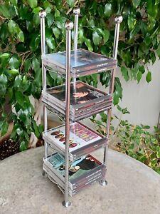 Audiophile Chrome Compact Disc Disk CD Rack Holder Storage Tower Art Deco Modern
