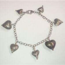 Vintage 925 Sterling Silver Puffed Heart Charm bracelet